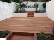 Balau Deck White Fence
